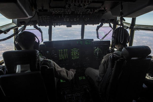 U.S. Marines with Special-Purpose Marine Air-Ground Task Force Crisis Response-Africa fly an aerial refueling mission with pilots from the Spanish Air Force, Aug. 13, near Morón Air Base, Spain. (Photo: Staff Sgt. Vitaliy Rusavskiy)