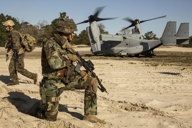 A Dutch Marine with 32nd Raiding Company provides security during a casualty evacuation exercise at Marine Corps Base Camp Lejeune, North Carolina. (U.S. Marine Corps photo by Cpl. Justin Updegraff)
