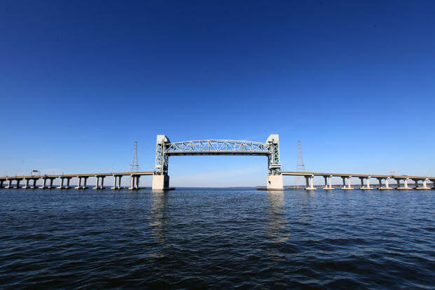 The James River Bridge is a four-lane divided highway lift bridge across the James River in Virginia and connects Newport News on the Virginia Peninsula with Isle of Wight County in the South Hampton Roads region. (Photo: Tom Saunders/VDOT)