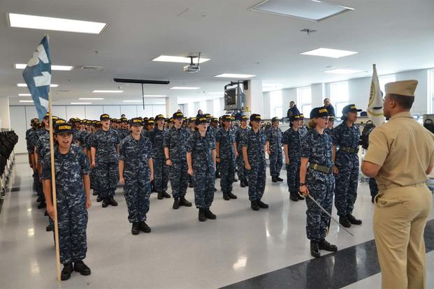 FILE PHOTO -- USS Arizona ship's officer addresses the first all-female division in recent history at Recruit Training Command, Aug. 17, 2012. (U.S. Navy/Liza Swart/Released)