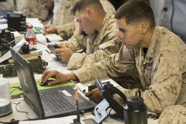 A U.S. Marine with 8th Marine Regiment, Regimental Combat Team-8, uses a computer during Large Scale Exercise 17 at Marine Corps Air Ground Combat Center, Twentynine Palms, Calif., on Aug 16, 2017.Cpl. Justin M. Smith/Marine Corps
