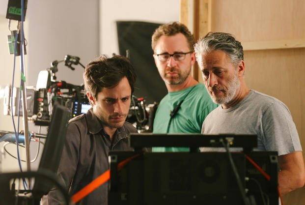 "Gael Garcia Bernal, First Assistant Cameraman Michael Burke, and Jon Stewart on the set of ""Rosewater"""
