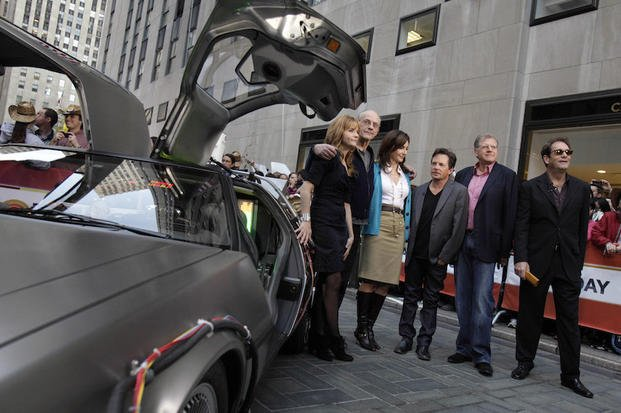 "FILE- In this Oct. 26, 2010 file photo, cast members of the ""Back to the Future"" movies appear on the NBC ""Today"" television program, commemorating the 25th anniversary of the films, in New York."
