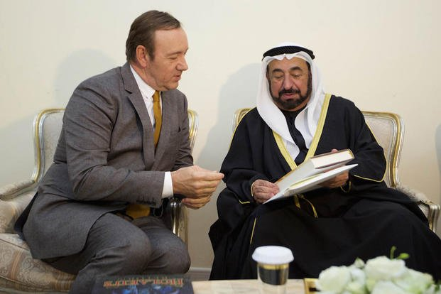 In this Jan. 25, 2015 photo made available by Emirates News Agency, WAM, Sheik Sultan bin Mohammed Al Qasimi, Ruler of Sharjah, right, meets with by Kevin Spacey in Sharjah, United Arab Emirates.