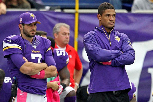 Josh Freeman in sweatjacket