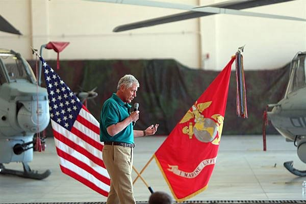 The Defense Secretary Chuck Hagel speaks during a town hall meeting aboard Marine Corps Base Camp Pendleton Calif., on Aug. 12, 2014.