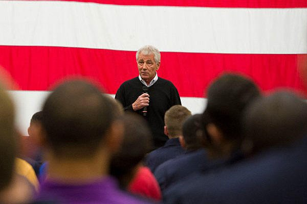 Defense Secretary Chuck Hagel speaks to sailors aboard the USS America in San Diego, Jan. 14, 2015. Hagel is visiting all service branches to thank them for their service during his last official domestic trip. Petty Officer 2nd Class Sean Hurt/Navy