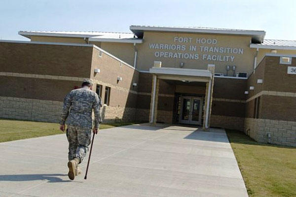 A soldier walks into Fort Hood's new Warriors in Transition Operations Facility. U.S. Army photo
