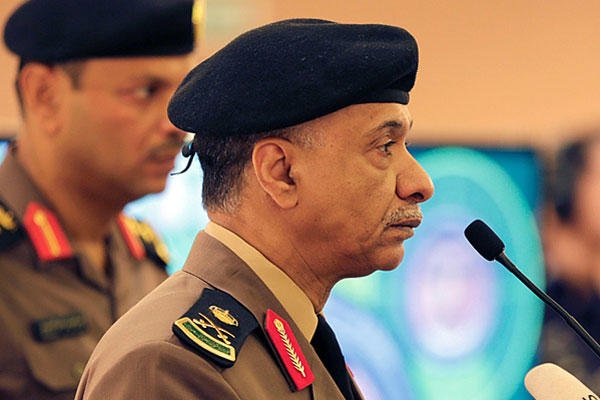 In this April 24, 2015, file photo, Saudi Interior Ministry spokesman Maj. Gen. Mansour al-Turki listens to journalists' questions during a press conference in Riyadh, Saudi Arabia. Hasan Jamali/AP