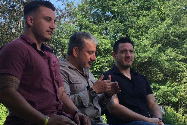 Harry M., center, and his sons James, left, and Josh, right, are joining the fight against ISIS. Fox News photo