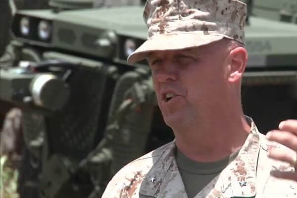 Marine Corps Brig. Gen. Kevin Killea, then commander of the Marine Corps Warfighting Lab, in July 2014 speaks about the Advanced Warfighting Experiment in Hawaii. (Marine Corps photo)