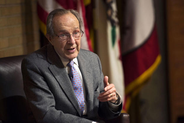 Former Defense Secretary William Perry answers questions from guests during a dinner for technology industry leaders held at Stanford University in Palo Alto, Calif., April 17, 2013. Glenn Fawcett/DoD