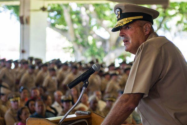Rear Adm. Robert Girrier addresses Navy chiefs-to-be at Pearl Harbor on Sept. 16, 2014. Last fall, he became the Navy's first director of unmanned weapons systems. (Navy photo)