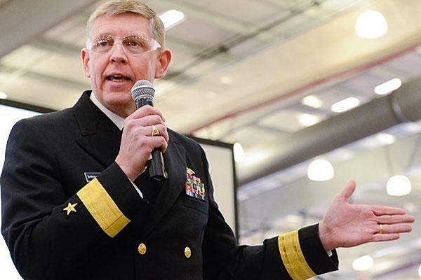Naval Surface Warfare Center Commander Rear Adm. Lorin Selby speaks to students at the 2015 FIRST Tech Challenge Virginia State Championship. Navy photo