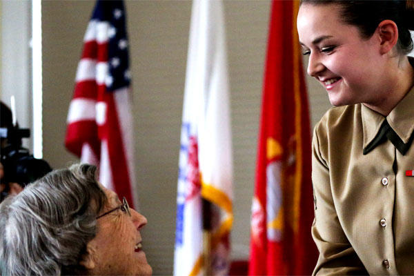Women veterans were united with active duty and future Marines in early March by the Women's Marine Association to recognize Women's History Month. (Marine Corps/Jared Lingafelt)