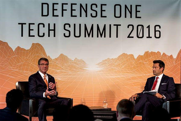 Defense Secretary Ash Carter, left, speaks with Defense One Executive Editor Kevin Baron during the Defense One Tech Summit in Washington on June 10, where the secretary pitched his Force of the Future initiative. (DoD photo/Brigitte Brantley)
