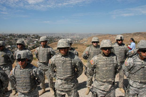 Members of the California National Guard stand in formation before undertaking operations on California's Southern border on Sept. 17, 2010. (Photo by Jessica Inigo/California National Guard)