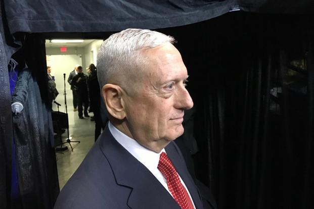 Retired Marine Gen. James Mattis prepares to join Republican President-elect Donald Trump on stage in Fayetteville, N.C., on Dec. 6, 2016, to accept the nomination to become secretary of defense. (Photo courtesy Trump Transition Team)