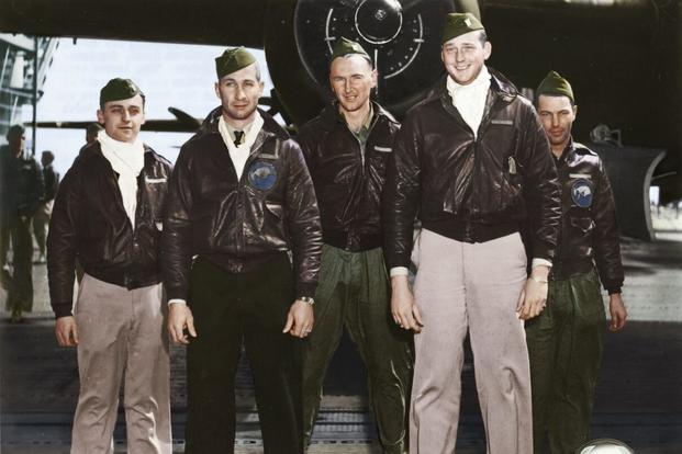 Crew 3: Lt. Charles J. Ozuk Jr., navigator; Lt. Robert M. Gray, pilot; Sgt. Aden E. Jones, bombardier; Lt. Jacob E. Manch, copilot; Cpl. Leland D. Faktor, flight engineer/gunner. (Colorized images © copyright 2017 Lori Lang, LBL Graphic Design)