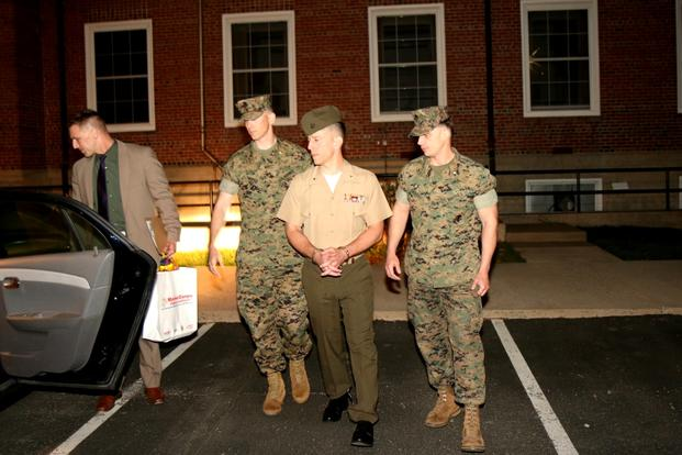 Maj. Mark Thompson exits Lejeune Hall April 13, 2017, at Marine Corps Base Quantico after being sentenced for lying about having sexual relationships with two female midshipmen as an instructor at the U.S. Naval Academy. (Photo: Matthew Cox/Military.com)