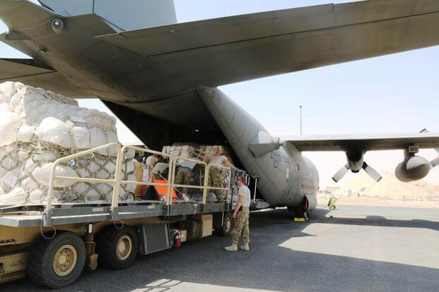 The National Guard's 156th Airlift Squadron moved several tons of cargo from a base in Southwest Asia to an airstrip in Iraq, one of multiple deliveries on a 12-hour mission. (Military.com photo by Oriana Pawlyk)