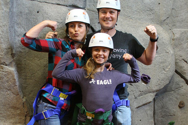 A family poses during an indoor rock-climbing event sponsored by Project Sanctuary, a national nonprofit organization committed to assisting military families. Courtesy photo