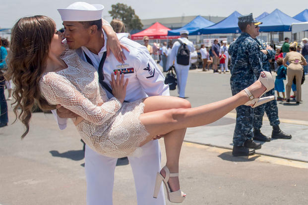 A sailor greets his wife during a 2015 homecoming celebration at Naval Base San Diego. Navy photo