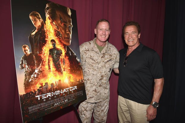 OCEANSIDE, CA - JUNE 14:  Brigadier General Edward D. Banta welcomes former CA Governor Arnold Schwarzenegger to a screening of TERMINATOR GENISYS at Camp Pendleton on June 14, 2015 in Oceanside, California.  (Photo by Kevin Winter/Getty Images for Paramount Pictures')