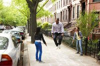 city kids jumping rope