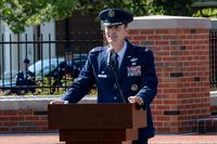FILE -- Col. John Howard, 375th Air Mobility Wing commander, gives his first speech as the commander during the 375th AMW change of command ceremony July 24, 2017. (U.S. Air Force/Airman Chad Gorecki)