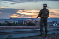 A U.S. Marine Security Guard (MSG) watchstander provides security while standing post on the roof of the U.S. Embassy, Bamako, Mali, Aug. 29, 2016. (U.S. Marine Corps photo/Sarah R. Hickory)