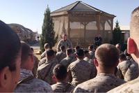 During a visit to deployed Marine units in late December 2017, Gen. Robert Neller told his own deployed Christmas story. (Screen grab via video by Hope Hodge Seck/Military.com)