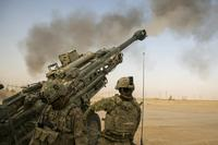 U.S. Army artillery Soldiers respond to a fire mission in support of Combined Joint Task Force - Operation Inherent Resolve in order to provide assistance to their Iraqi partners, Nov. 6, 2017. (U.S. Marine Corps/Cpl. F. Cordoba)