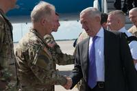 Army Gen. Raymond A. Thomas III, commander of U.S. Special Operations Command, greets the Secretary of Defense Mattis upon his arrival on MacDill AFB in Tampa, Fla., Oct. 11, 2017. (Photo/ U.S. Air Force Master Sgt. Barry Loo)