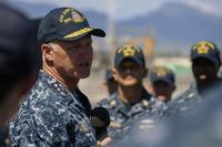 Commander, Naval Surface Forces Vice Adm. Thomas S. Rowden addresses the crew of the guided-missile destroyer USS John Paul Jones at Joint Base Pearl Harbor-Hickam, November 11, 2016. (U.S. Navy/Petty Officer 2nd Class Laurie Dexter)
