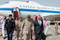 Secretary of Defense Jim Mattis speaks with Saudi Army Gen. Abdulrahman bin Saleh Al-Banyan, Chief of the Joint Staff, at King Salman Air Base, Saudi Arabia, April 18, 2017. (DoD photo/Brigitte N. Brantley)