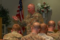 Chaplain (Brig. Gen.) Kenneth Brandt, the Senior Army National Guard Chaplain and US Army Deputy Chief of Chaplains for the National Guard, speaks to Active, Guard and Reserve unit ministry teams gathered at Fort Drum during the chaplain summit, June 12, 2017. (U.S. Army photo/Keegan Costello)