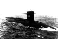The Thresher (SSN 593) is under way in the Atlantic on July 24, 1961, shortly before its commissioning ceremony 10 days later. (US Navy photo courtesy of Naval History and Heritage Command)