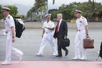 Adm. John C. Aquilino, Pacific Fleet commander, greets Defense Secretary Jim Mattis on arrival at U.S. Pacific Command in Honolulu, Hawaii, on May 29, 2018. U.S. Navy photo via Twitter