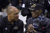 Pro Football Hall of Famer Aeneas Williams shares a moment with Richard Overton, the oldest living World War II veteran, at the 2017 U.S. Army All-American Bowl in the San Antonio Alamodome. (US Army Reserve photo/James Larimer)
