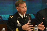 "Then-Maj. Gen. Stephen Fogarty, commander, U.S. Army Cyber Center of Excellence at Fort Gordon, Georgia, speaks, July 14, 2016 at the ""Network Readiness in a Complex World"" panel hosted by the Association of the United States Army at AUSA headquarters in Arlington, Va. (U.S. Army photo/David Vergun)"