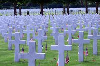 Gravestones of some of the 6,012 American buried at the Oise- Aisne American Cemetery in Seringes et Nesles, France. (U.S. Army National Guard/Jean Marie Kratzer)