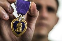 U.S. Military Purple Heart medal. (U.S. Air Force/Senior Airman Dennis Sloan)