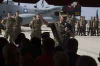 Col. Craig Leflore, commanding officer of Marine Aircraft Group 16, 3rd Marine Aircraft Wing, addresses the audience during the Marine Medium Tiltrotor Squadron (VMM) 362 activation ceremony at Marine Corps Air Station Miramar, Calif., on Aug. 17. Previously, Marine Heavy Helicopter Squadron (HMH) 362 operated as a CH-53D Sea Stallion unit from April 30, 1952, to Nov. 30, 2012. The unit reactivated as VMM-362 and will employ the MV-22B Osprey. (U.S. Marine Corps photo by Lance Cpl. Juan Anaya)