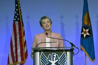 "Secretary of the Air Force Heather Wilson delivers her the ""Air Force We Need,"" address during the Air Force Association Air, Space and Cyber Conference in National Harbor, Maryland, Sept. 17, 2018 (U.S. Air Force/Wayne Clark)"