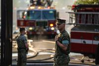 Marines from the Barracks Washington responded to a fire at a neighboring senior housing complex, September 19, 2018. (U.S. Marine Corps/Cpl. Damon A. Mclean)