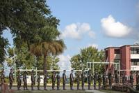 Recruits at Marine Corps Recruit Depot Parris Island prepare to evacuate to Marine Corps Logistic Base Albany following an evacuation order, September 11, 2018. The order was later rescinded. (U.S. Marine Corps/Sgt. Dana Beesley)