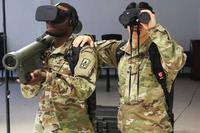 Paratroopers assigned to Echo Battery, 3rd Battalion, 4th Air Defense Artillery Regiment, conduct Stinger missile training using the Virtual Stinger Dome (VSD) at Fort Bragg, N.C., on March 21, 2018. The VSD is a new training system that utilizes virtual reality technology to immerse soldiers into a digital world, allowing for more realistic Stinger team training. The 3rd Brigade Combat Team, 82nd Airborne Division, owns one of five systems across the U.S. Army. (Army photo by Spc. Houston T Graham)