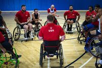 Port Hueneme, California: Members of Team US take instruction during wheelchair basketball training, in preparation for the 2018 Invictus Games in Sydney, Australia. (US Air Force Photo/Shawn Sprayberry)