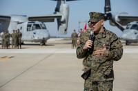Colonel Adam L. Chalkley, commanding officer of Special Purpose Marine Air-Ground Task Force-Crisis Response-Africa, gives his remarks during a transfer of authority ceremony for SPMAGTF-CR-AF at Morón Air Base, Spain, March 21, 2018. (U.S. Marine Corps/Cpl. Holly Pernell)